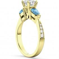 Diamond & Pear Blue Topaz Engagement Ring 14k Yellow Gold (0.79ct)