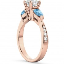 Diamond & Pear Blue Topaz Engagement Ring 18k Rose Gold (0.79ct)