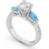 Diamond & Pear Blue Topaz Engagement Ring 18k White Gold (0.79ct)