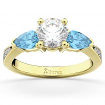 Diamond & Pear Blue Topaz Engagement Ring 18k Yellow Gold (0.79ct)