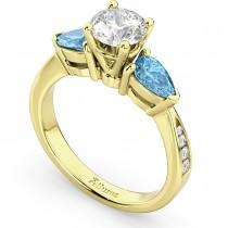 Diamond & Pear Blue Topaz Engagement Ring 18k Yellow Gold (0.79ct)
