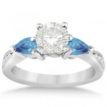 Diamond & Pear Blue Topaz Engagement Ring Palladium (0.79ct)