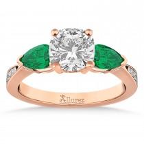 Cushion Diamond & Pear Green Emerald Engagement Ring 14k Rose Gold (1.29ct)
