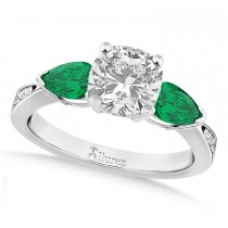 Cushion Diamond & Pear Green Emerald Engagement Ring 14k White Gold (1.29ct)