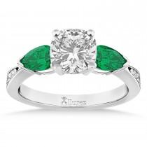 Cushion Diamond & Pear Green Emerald Engagement Ring 14k White Gold (1.29ct)