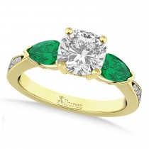 Cushion Diamond & Pear Green Emerald Engagement Ring 14k Yellow Gold (1.29ct)
