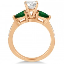 Cushion Diamond & Pear Green Emerald Engagement Ring 18k Rose Gold (1.29ct)
