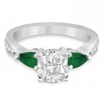Cushion Diamond & Pear Green Emerald Engagement Ring 18k White Gold (1.29ct)