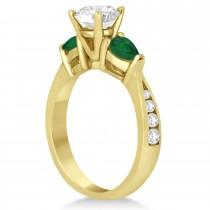 Cushion Diamond & Pear Green Emerald Engagement Ring 18k Yellow Gold (1.29ct)