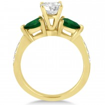 Cushion Diamond & Pear Green Emerald Engagement Ring 18k Yellow Gold (1.29ct)