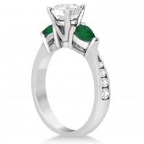 Cushion Diamond & Pear Green Emerald Engagement Ring in Palladium (1.29ct)