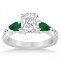 Cushion Diamond & Pear Green Emerald Engagement Ring in Platinum (1.29ct)