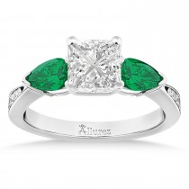 Princess Diamond & Pear Green Emerald Engagement Ring 14k White Gold (1.29ct)