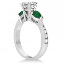 Princess Diamond & Pear Green Emerald Engagement Ring 14k White Gold (1.29ct)