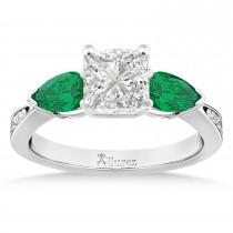 Princess Diamond & Pear Green Emerald Engagement Ring 18k White Gold (1.29ct)