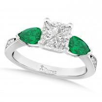 Princess Diamond & Pear Green Emerald Engagement Ring in Platinum (1.29ct)
