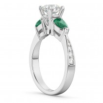 Round Diamond & Pear Green Emerald Engagement Ring 14k White Gold (1.29ct)