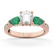 Round Diamond & Pear Green Emerald Engagement Ring 14k Rose Gold (1.79ct)