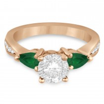 Round Diamond & Pear Green Emerald Engagement Ring 18k Rose Gold (1.79ct)