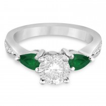 Round Diamond & Pear Green Emerald Engagement Ring 18k White Gold (1.79ct)