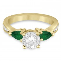Round Diamond & Pear Green Emerald Engagement Ring 18k Yellow Gold (1.79ct)