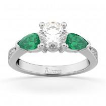 Round Diamond & Pear Green Emerald Engagement Ring in Platinum (1.79ct)