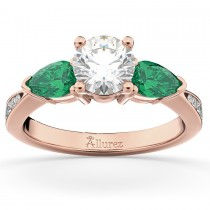 Diamond & Pear Green Emerald Engagement Ring 14k Rose Gold (0.61ct)
