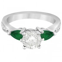 Diamond & Pear Green Emerald Engagement Ring 14k White Gold (0.61ct)