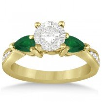 Diamond & Pear Green Emerald Engagement Ring 14k Yellow Gold (0.61ct)