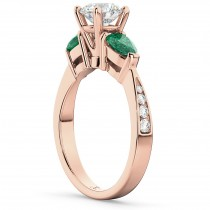 Diamond & Pear Green Emerald Engagement Ring 18k Rose Gold (0.61ct)