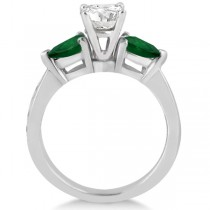 Diamond & Pear Green Emerald Engagement Ring 18k White Gold (0.61ct)