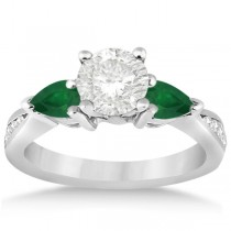 Diamond & Pear Green Emerald Engagement Ring Platinum (0.61ct)