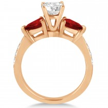 Cushion Diamond & Pear Garnet Engagement Ring 14k Rose Gold (1.29ct)