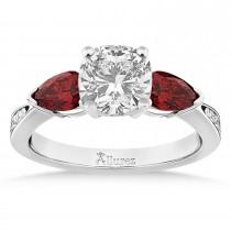 Cushion Diamond & Pear Garnet Engagement Ring 14k White Gold (1.29ct)