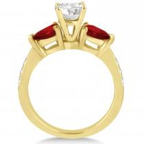 Cushion Diamond & Pear Garnet Engagement Ring 14k Yellow Gold (1.29ct)