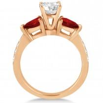 Cushion Diamond & Pear Garnet Engagement Ring 18k Rose Gold (1.29ct)