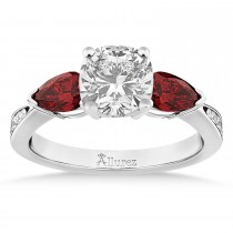 Cushion Diamond & Pear Garnet Engagement Ring 18k White Gold (1.29ct)