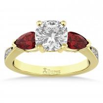 Cushion Diamond & Pear Garnet Engagement Ring 18k Yellow Gold (1.29ct)