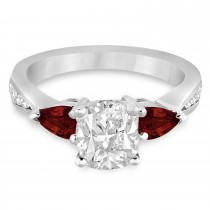Cushion Diamond & Pear Garnet Engagement Ring in Platinum (1.29ct)