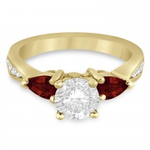 Round Diamond & Pear Garnet Engagement Ring 18k Yellow Gold (1.79ct)
