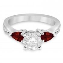 Round Diamond & Pear Garnet Engagement Ring in Platinum (1.79ct)