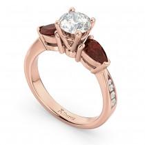 Diamond & Pear Garnet Engagement Ring 14k Rose Gold (0.79ct)
