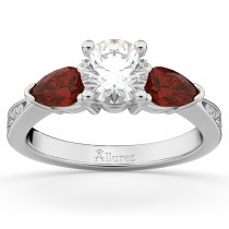 Diamond & Pear Garnet Engagement Ring 14k White Gold (0.79ct)