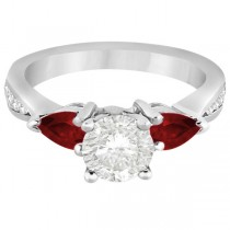 Diamond & Pear Garnet Engagement Ring 14k White Gold (0.79ct)