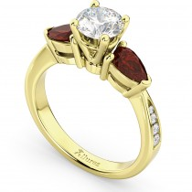 Diamond & Pear Garnet Engagement Ring 14k Yellow Gold (0.79ct)