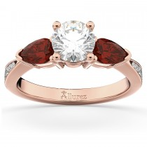 Diamond & Pear Garnet Engagement Ring 18k Rose Gold (0.79ct)