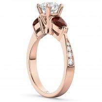 Diamond & Pear Garnet Engagement Ring 18k Rose Gold (0.79ct)