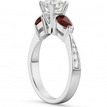 Diamond & Pear Garnet Engagement Ring 18k White Gold (0.79ct)