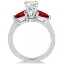 Diamond & Pear Garnet Engagement Ring 18k White Gold (0.79ct)