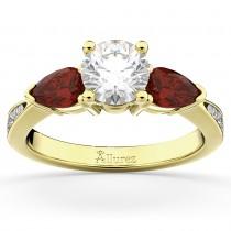 Diamond & Pear Garnet Engagement Ring 18k Yellow Gold (0.79ct)
